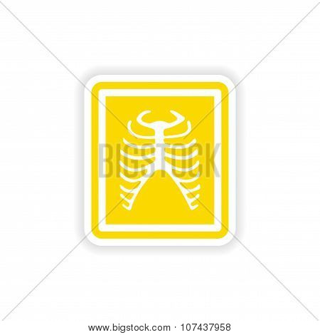 paper sticker on white background X-rays of ribs