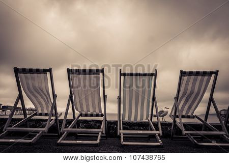 Deckchairs in seaside town