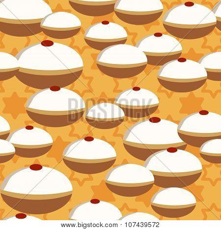 Hanukkah Donuts Seamless Pattern