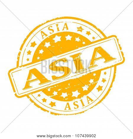 Damage To Yellow Stamp With The Words - Asia - Illustration