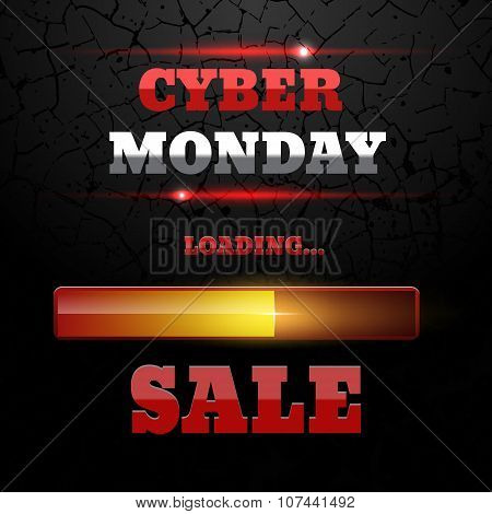 Cyber Monday Sale Loading Bar Background  Design Template For Ecommerce Business Website Eps 10 Vect
