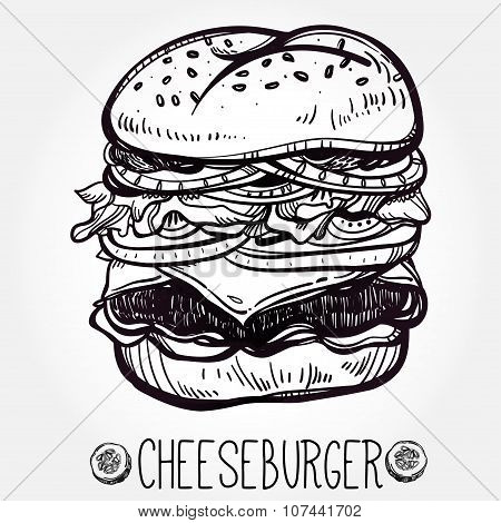 Illustration of gourmet Cheeseburger or Hamburger.