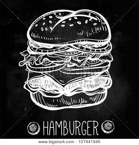 Illustration of gourmet Cheeseburger or Hamburger.