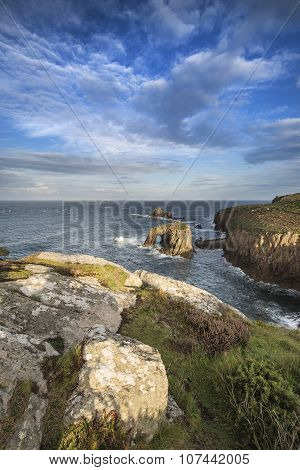 Stunning Sunrise Landscape Image Of Land's End In Cornwall England