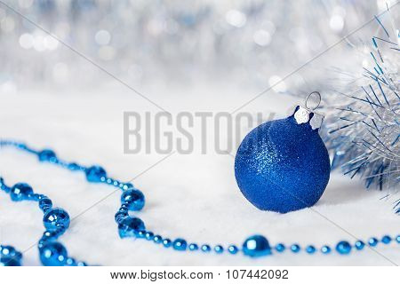 Blue Christmas ball with beads