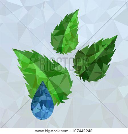 Polygonal Blue Water Drop