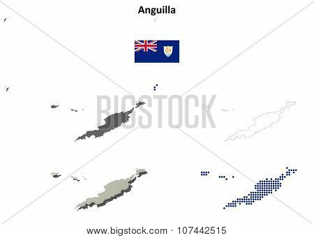 Anguilla outline map set