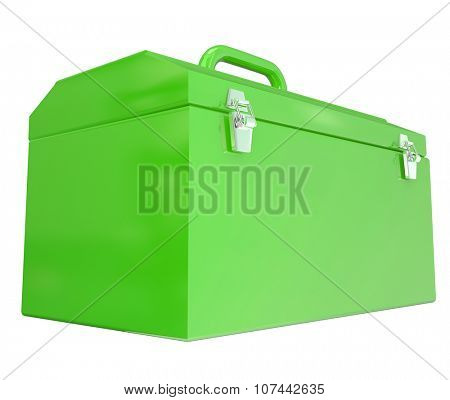 Green metal toolbox closed with blank copy space for message about working, project, task, building or construction