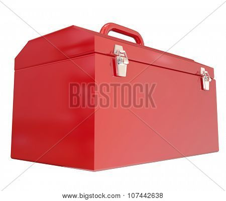 Red metal toolbox closed with blank copy space for message about working, project, task, building or construction