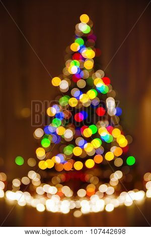 Christmas Defocused Lights, Xmas Tree, Blurred Holiday Colorful Night