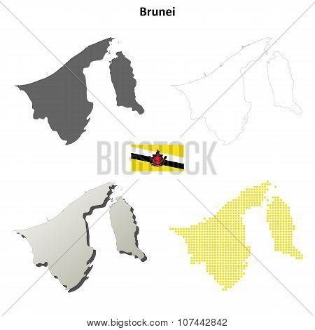 Brunei outline map set