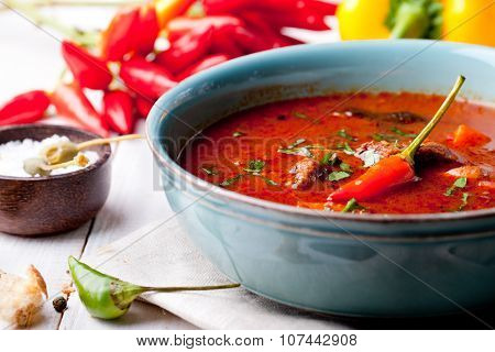 Goulash, beef, tomato, pepper, chili, smoked paprika soup.