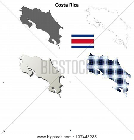 Costa Rica outline map set