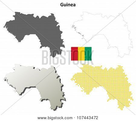 Guinea outline map set