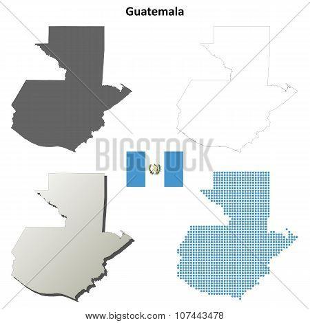 Guatemala outline map set