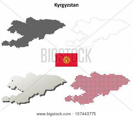 Kyrgyzstan outline map set