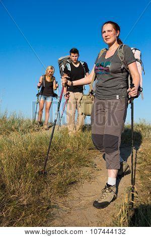 Hiking family on weekend hike