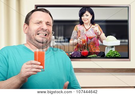 Man disgusted with detoxifying smoothie