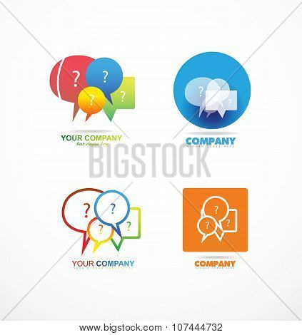 Speech Box Bubble Question Logo Icon Set