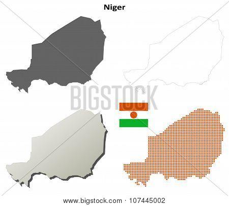 Niger outline map set