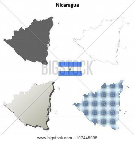 Nicaragua outline map set