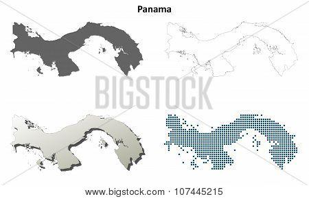 Panama outline map set