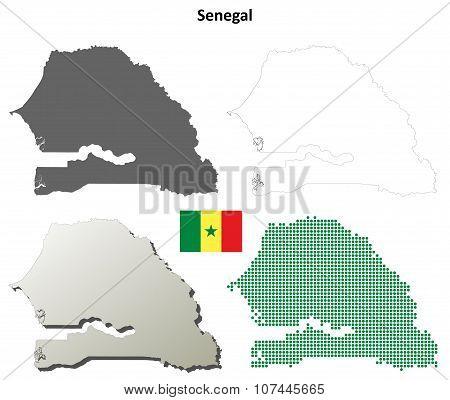 Senegal outline map set
