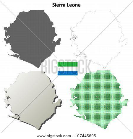 Sierra Leone outline map set