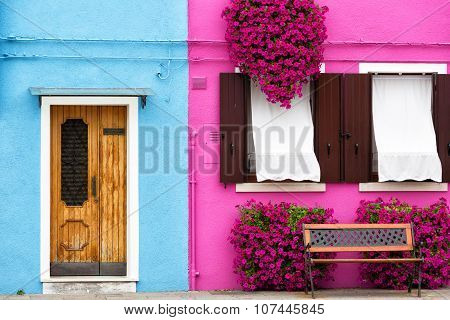 Venice, Burano: The Small Yard With Bright Walls Of Houses
