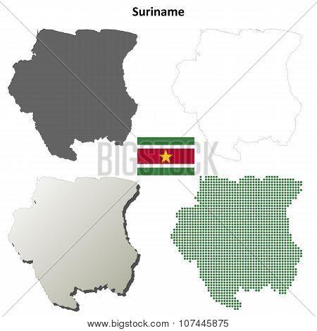 Suriname blank detailed outline map set