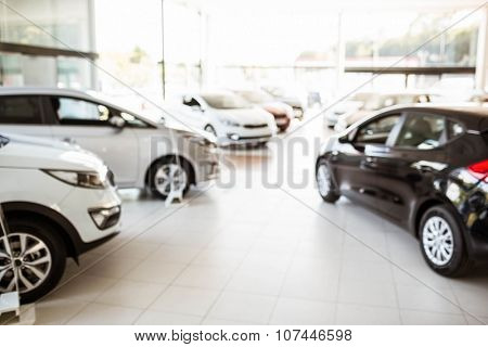 View of row new car at car dealership