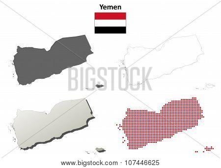Yemen outline map set