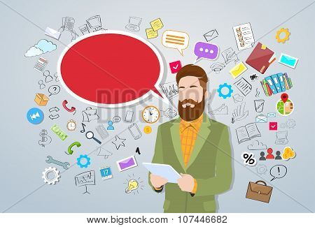 Businessman Using Tablet Computer Man Hipster Style Fashion Guy
