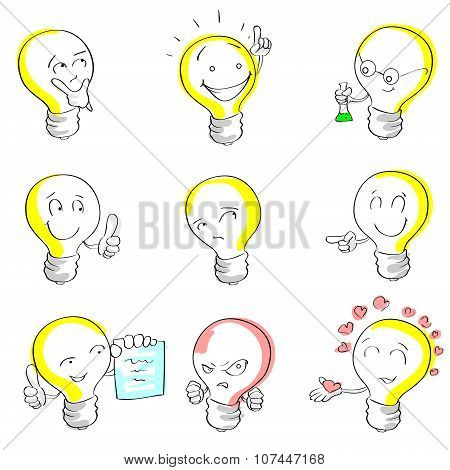 Light Bulb Cartoon Sketch Hand Draw Set Idea Concept