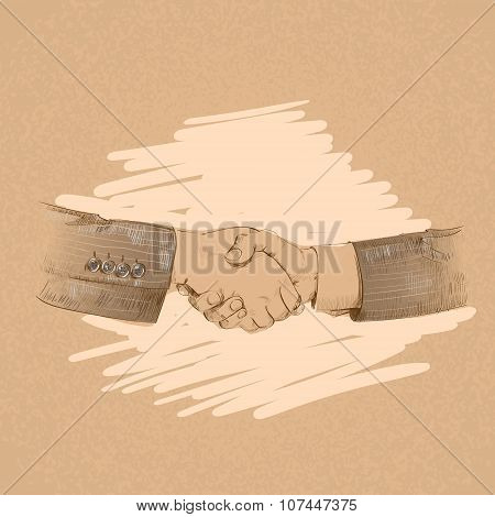 Handshake Business People Hands Shake Flat Retro