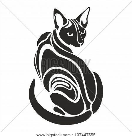 Egyptian Sphynx Black cat dangerous looking tattoo drawing
