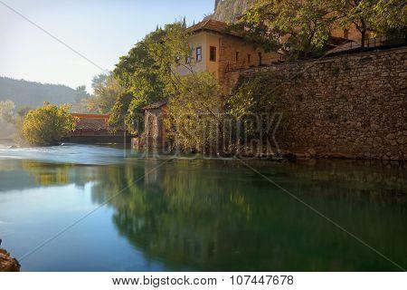 Buna river, Bosnia and Herzegovina, Blagaj, outing spot on the banks of Buna river