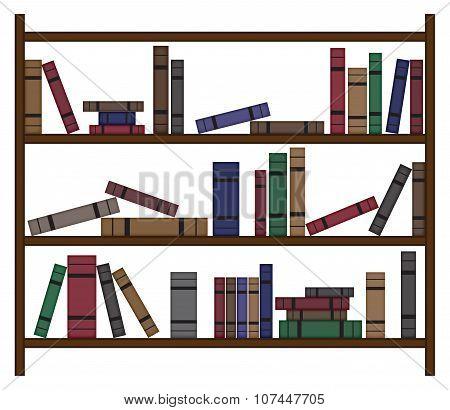 Busy Bookshelf With Books