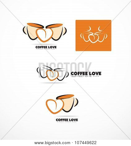 Coffee Cup Love Heart Logo Set