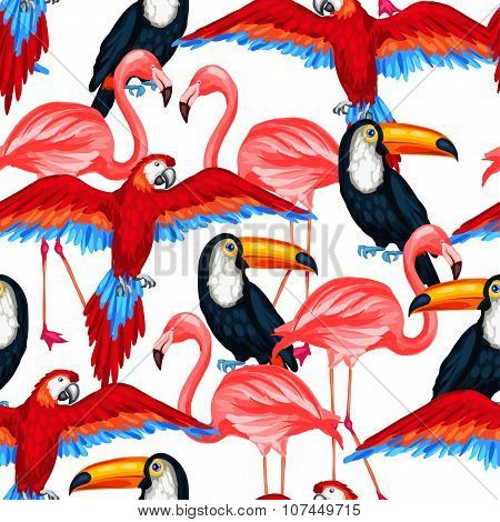 Tropical birds seamless pattern with parrots toucans and flamingos