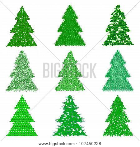 Collection Of Green Fur-trees In Cartoon Style On White Background. Vector Illustration