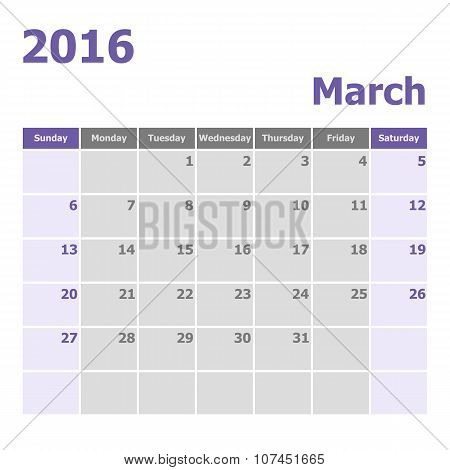 Calendar March 2016 Week Starts From Sunday