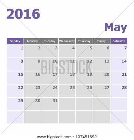 Calendar May 2016 Week Starts From Sunday