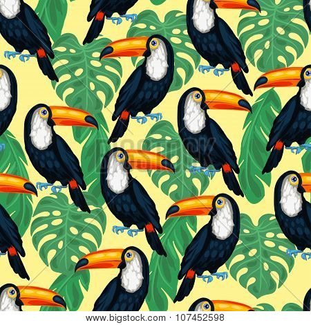 Tropical birds seamless pattern with toucans and palm leaves