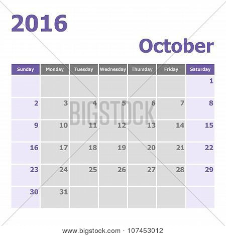 Calendar October 2016 Week Starts From Sunday