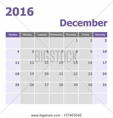 Calendar December 2016 Week Starts From Sunday