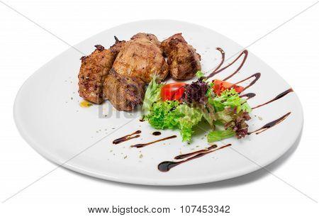 Delicious lamb shish kebab.