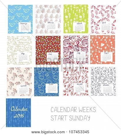 Calendar 2016 Template Set With Floral Patterns