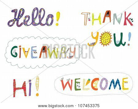 Hello, Welcome And Other Greeting Words Design Set