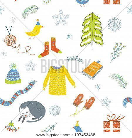 Winter And Christmas Seamless Pattern - Cute Design